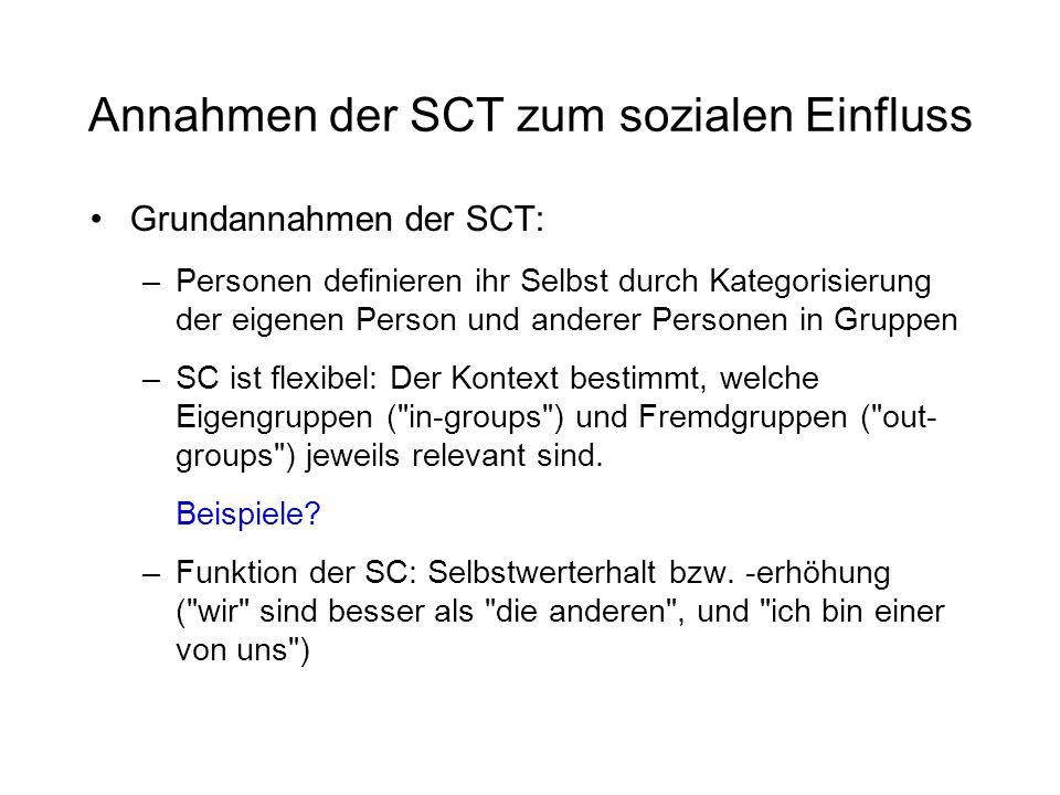 Annahmen der SCT zum sozialen Einfluss