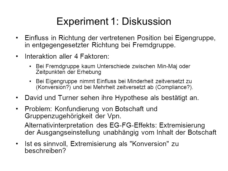 Experiment 1: Diskussion