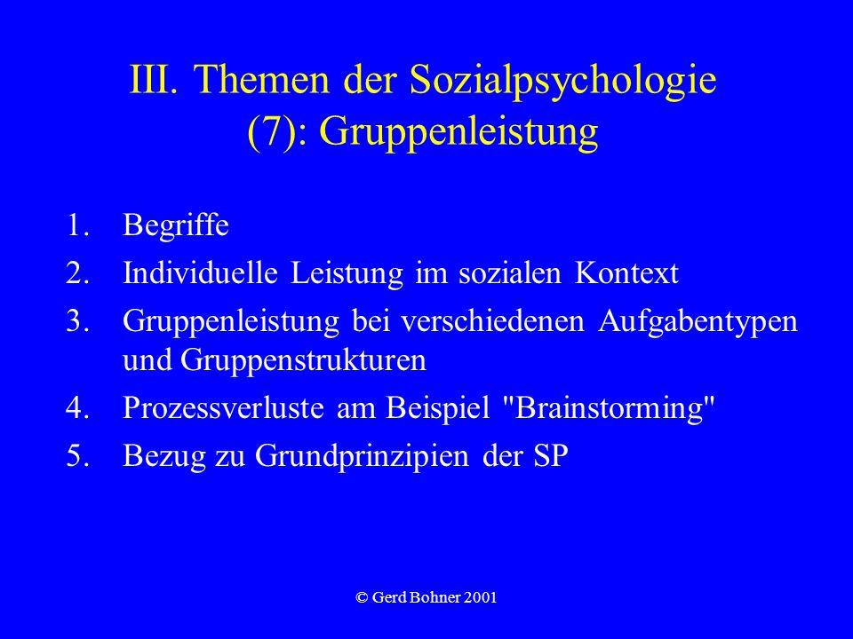 III. Themen der Sozialpsychologie (7): Gruppenleistung
