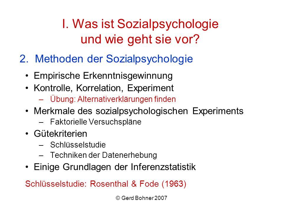 I. Was ist Sozialpsychologie und wie geht sie vor