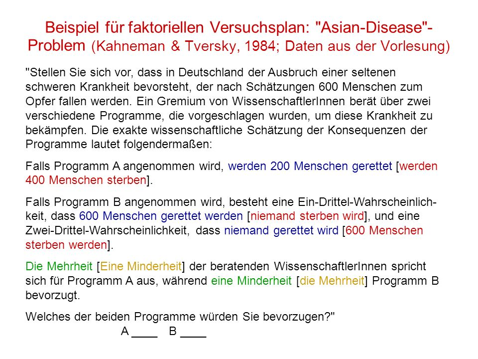 Beispiel für faktoriellen Versuchsplan: Asian-Disease -Problem (Kahneman & Tversky, 1984; Daten aus der Vorlesung)