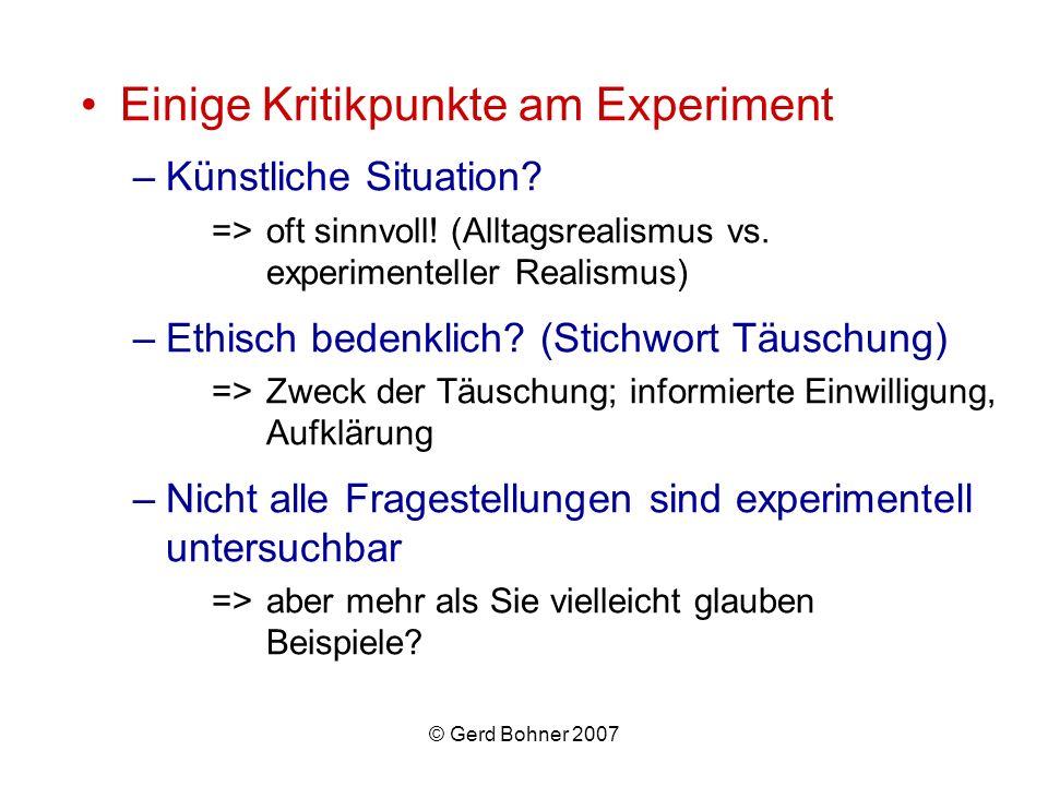 Einige Kritikpunkte am Experiment