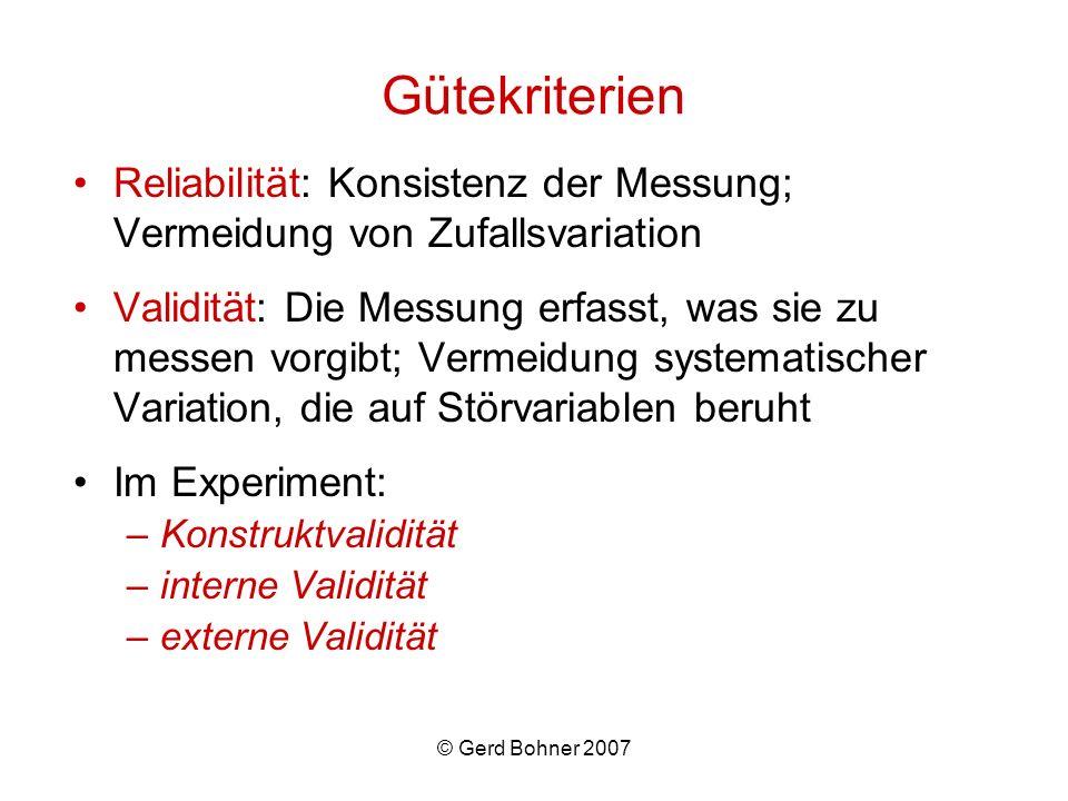 Gütekriterien Reliabilität: Konsistenz der Messung; Vermeidung von Zufallsvariation.