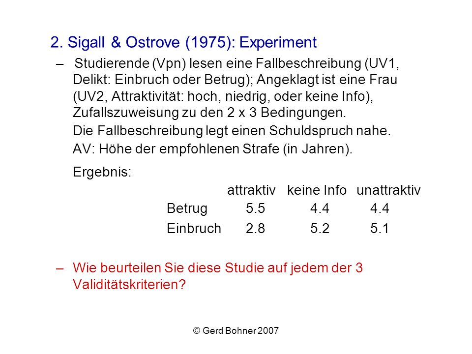 2. Sigall & Ostrove (1975): Experiment