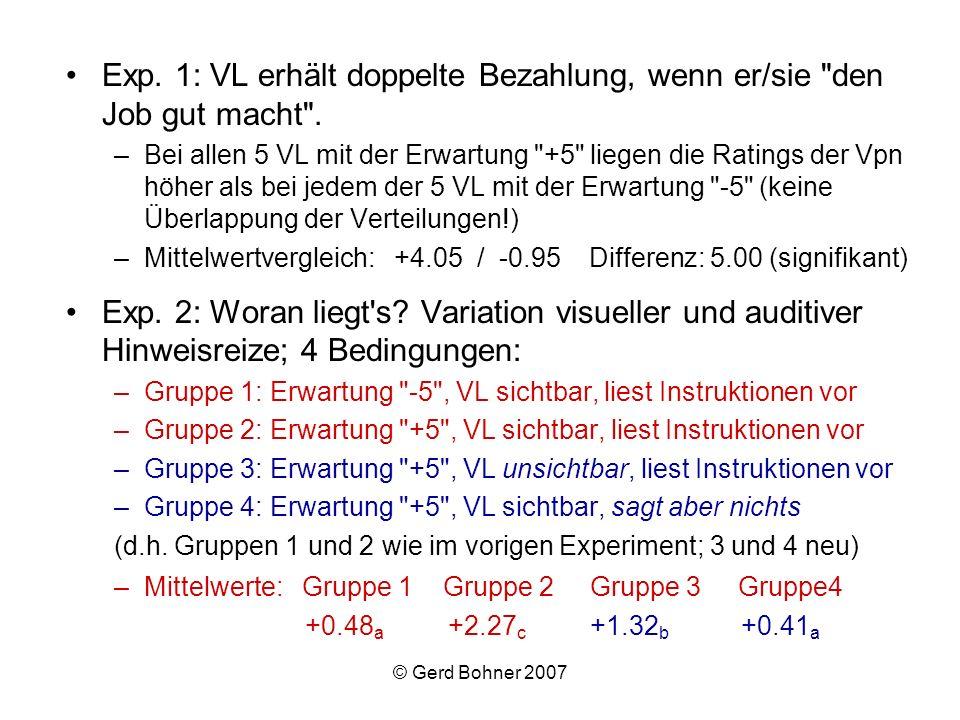 Exp. 1: VL erhält doppelte Bezahlung, wenn er/sie den Job gut macht .