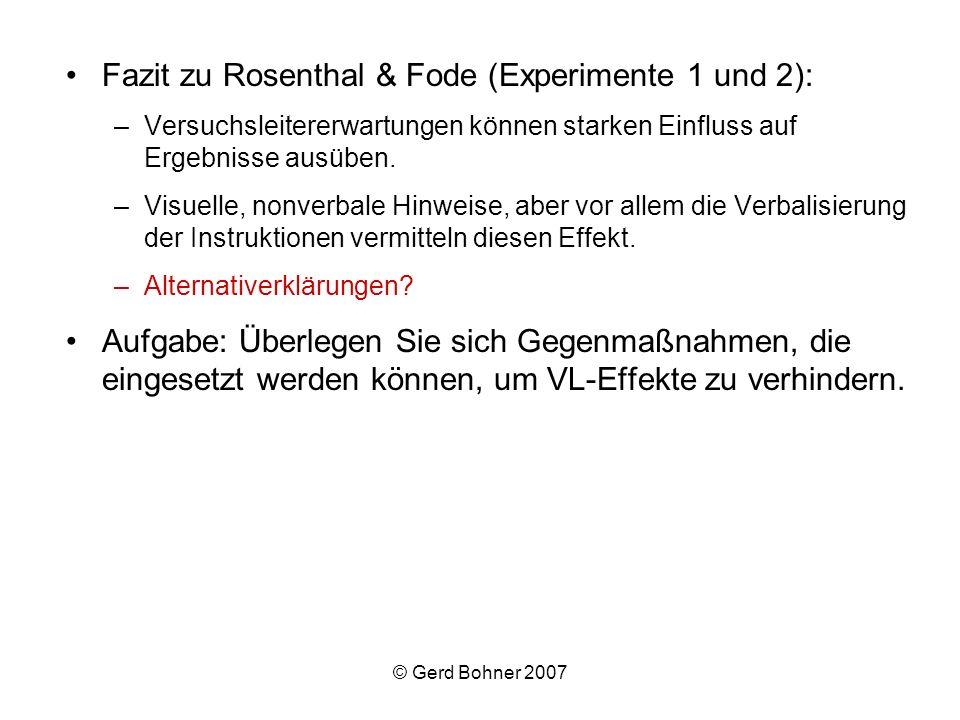Fazit zu Rosenthal & Fode (Experimente 1 und 2):