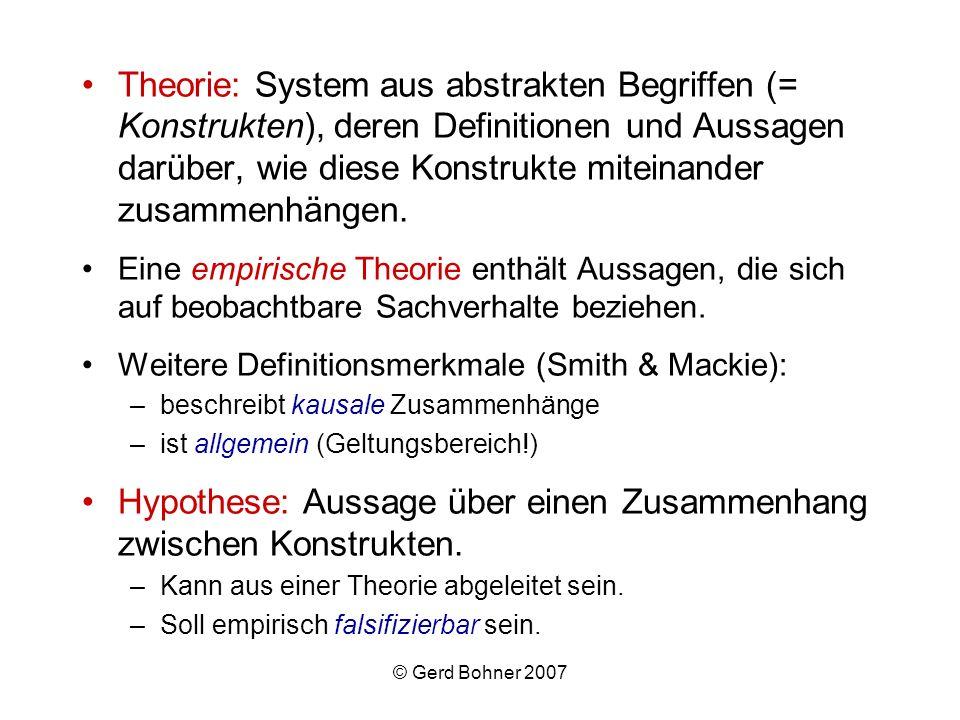 Hypothese: Aussage über einen Zusammenhang zwischen Konstrukten.