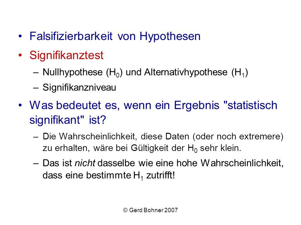 Falsifizierbarkeit von Hypothesen Signifikanztest