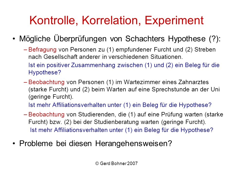 Kontrolle, Korrelation, Experiment