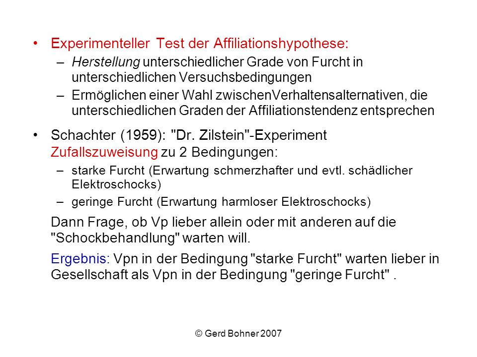 Experimenteller Test der Affiliationshypothese: