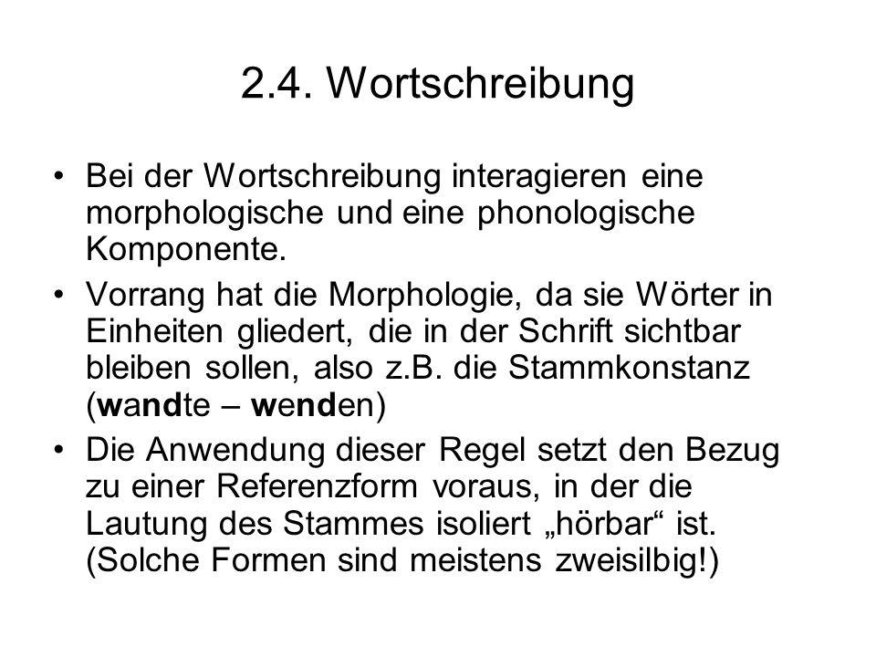 2.4. Wortschreibung Bei der Wortschreibung interagieren eine morphologische und eine phonologische Komponente.