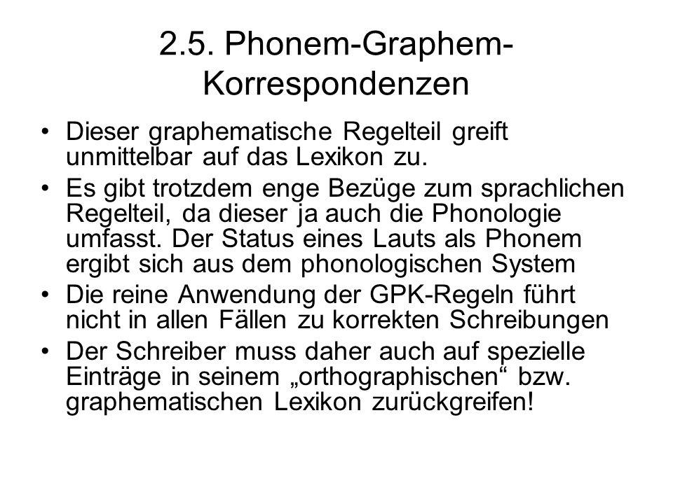2.5. Phonem-Graphem-Korrespondenzen