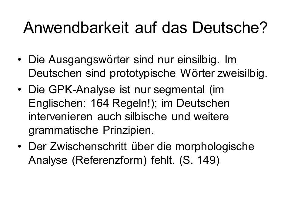 Anwendbarkeit auf das Deutsche