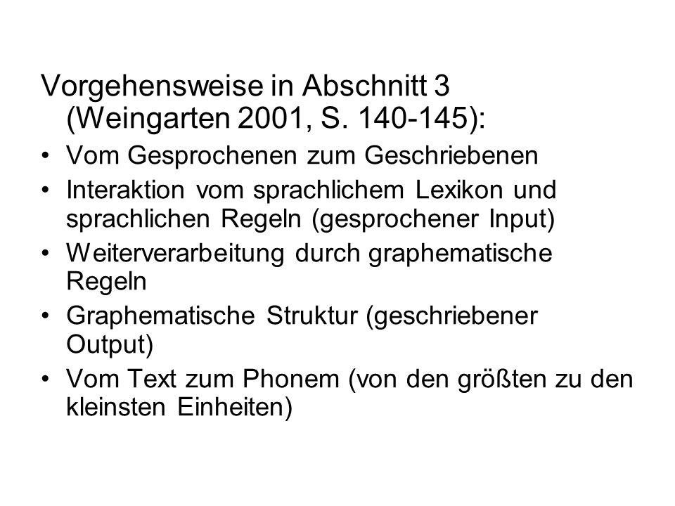 Vorgehensweise in Abschnitt 3 (Weingarten 2001, S. 140-145):