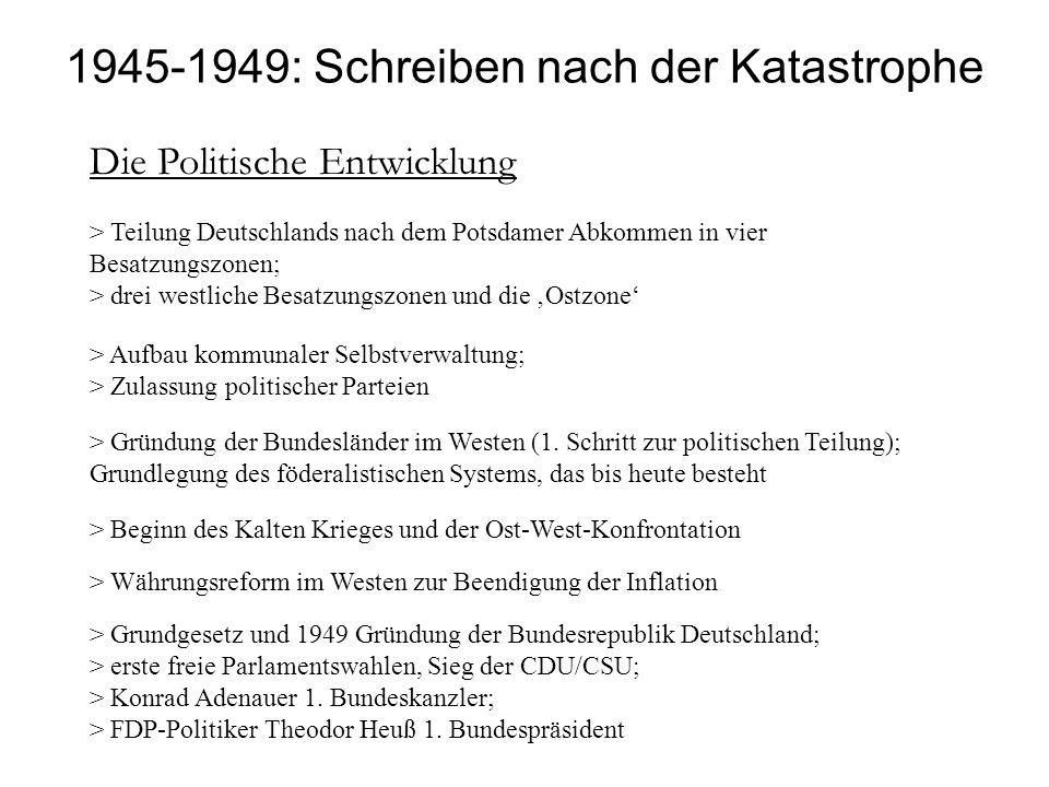 1945-1949: Schreiben nach der Katastrophe