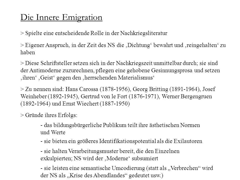 Die Innere Emigration > Spielte eine entscheidende Rolle in der Nachkriegsliteratur.
