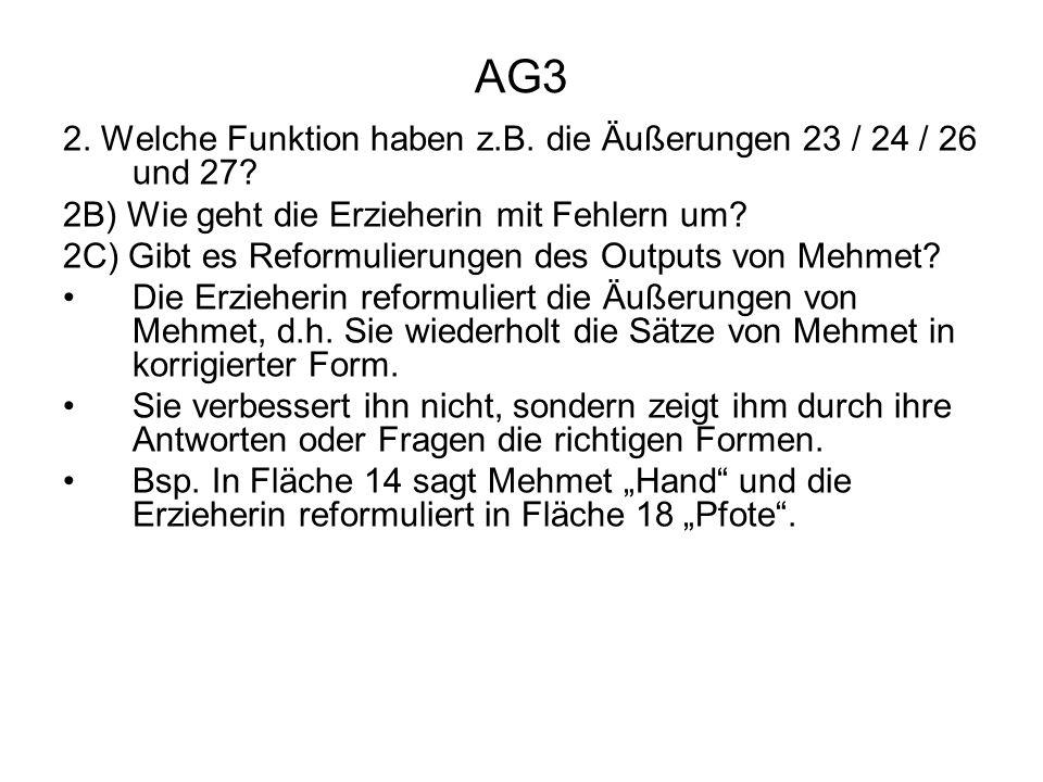 AG3 2. Welche Funktion haben z.B. die Äußerungen 23 / 24 / 26 und 27