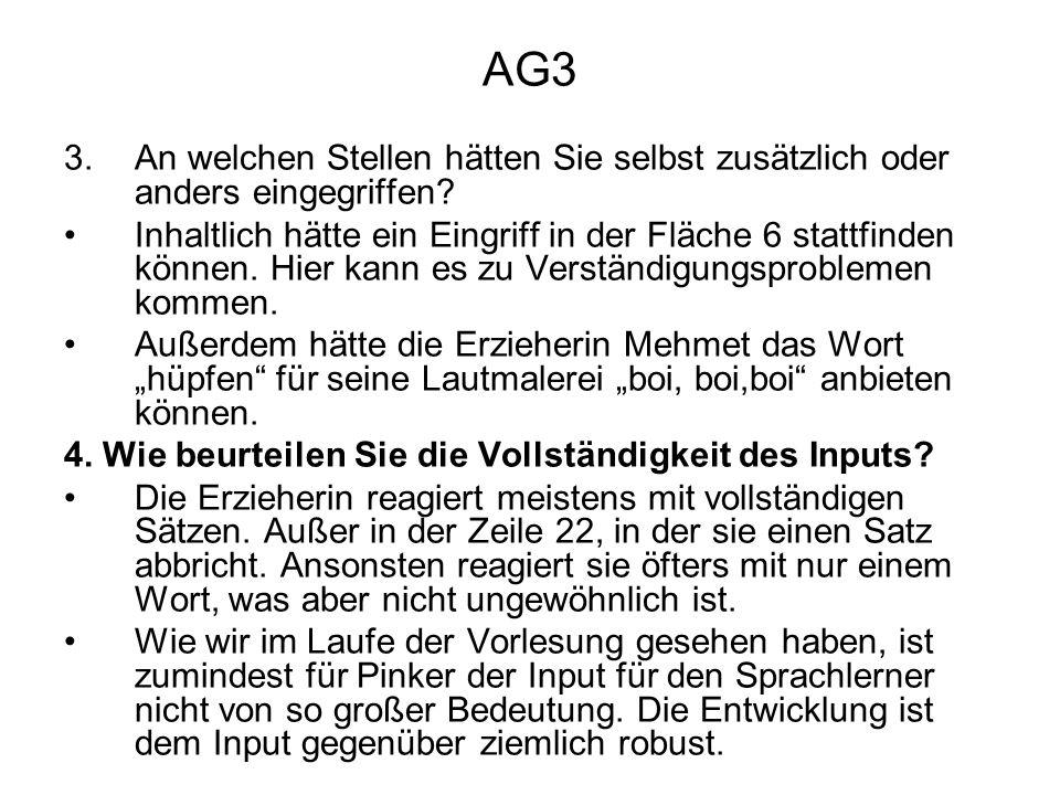 AG3 An welchen Stellen hätten Sie selbst zusätzlich oder anders eingegriffen