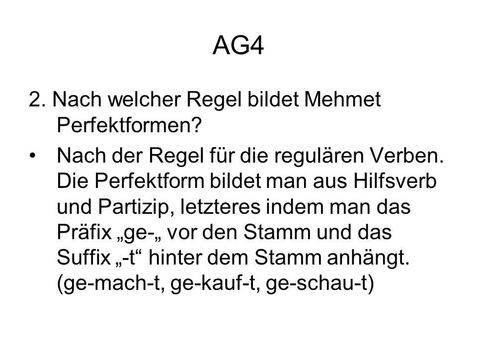 AG4 2. Nach welcher Regel bildet Mehmet Perfektformen