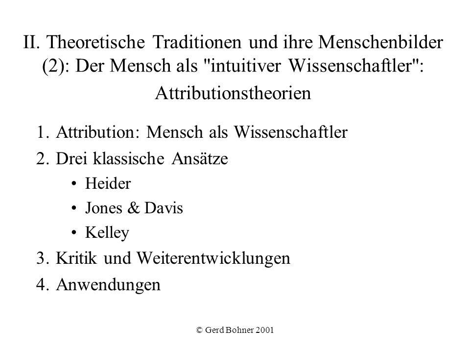 II. Theoretische Traditionen und ihre Menschenbilder (2): Der Mensch als intuitiver Wissenschaftler : Attributionstheorien