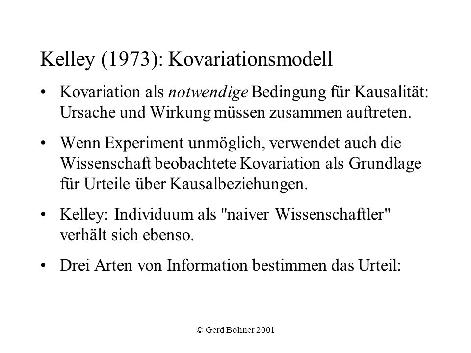 Kelley (1973): Kovariationsmodell