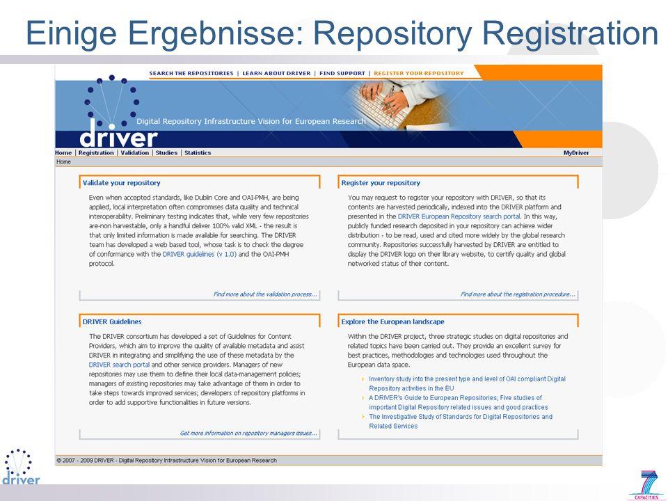 Einige Ergebnisse: Repository Registration