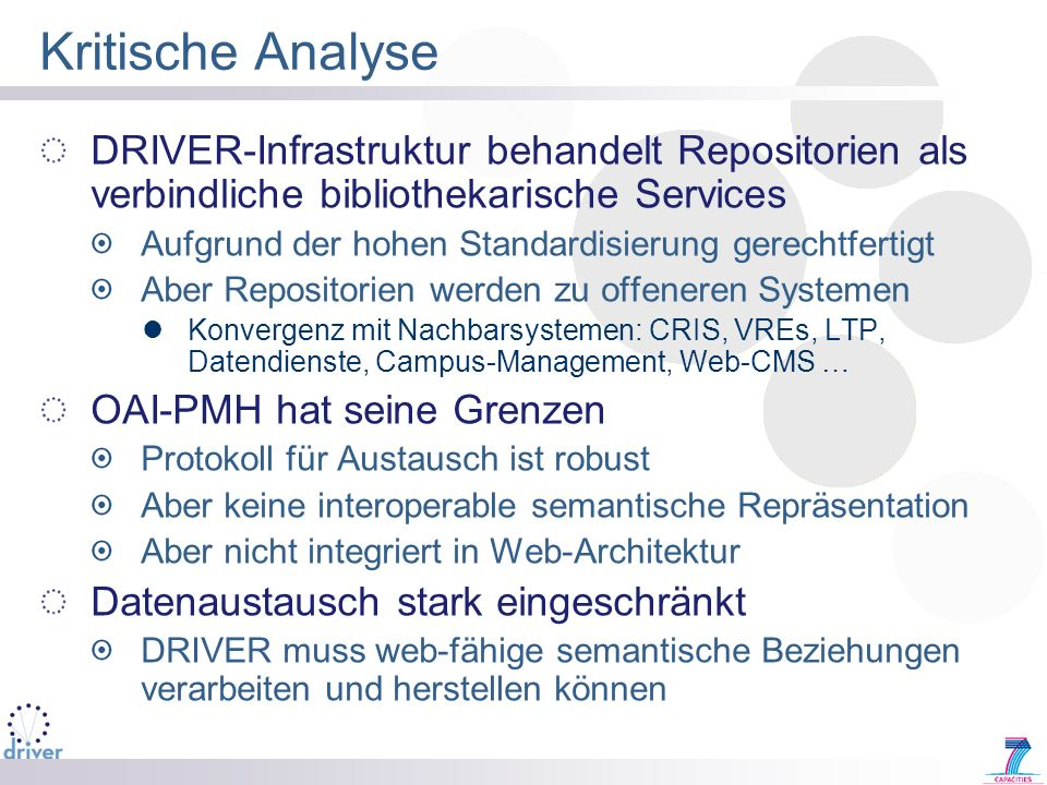 Kritische Analyse DRIVER-Infrastruktur behandelt Repositorien als verbindliche bibliothekarische Services.