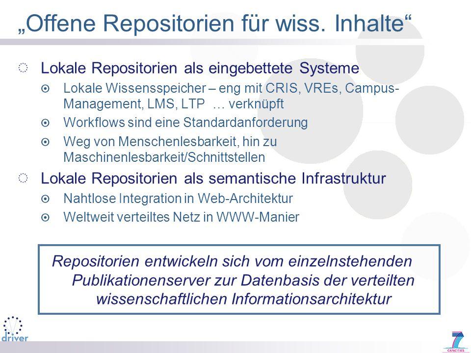 """""""Offene Repositorien für wiss. Inhalte"""