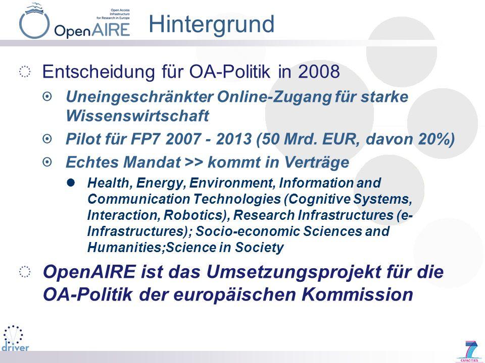Hintergrund Entscheidung für OA-Politik in 2008
