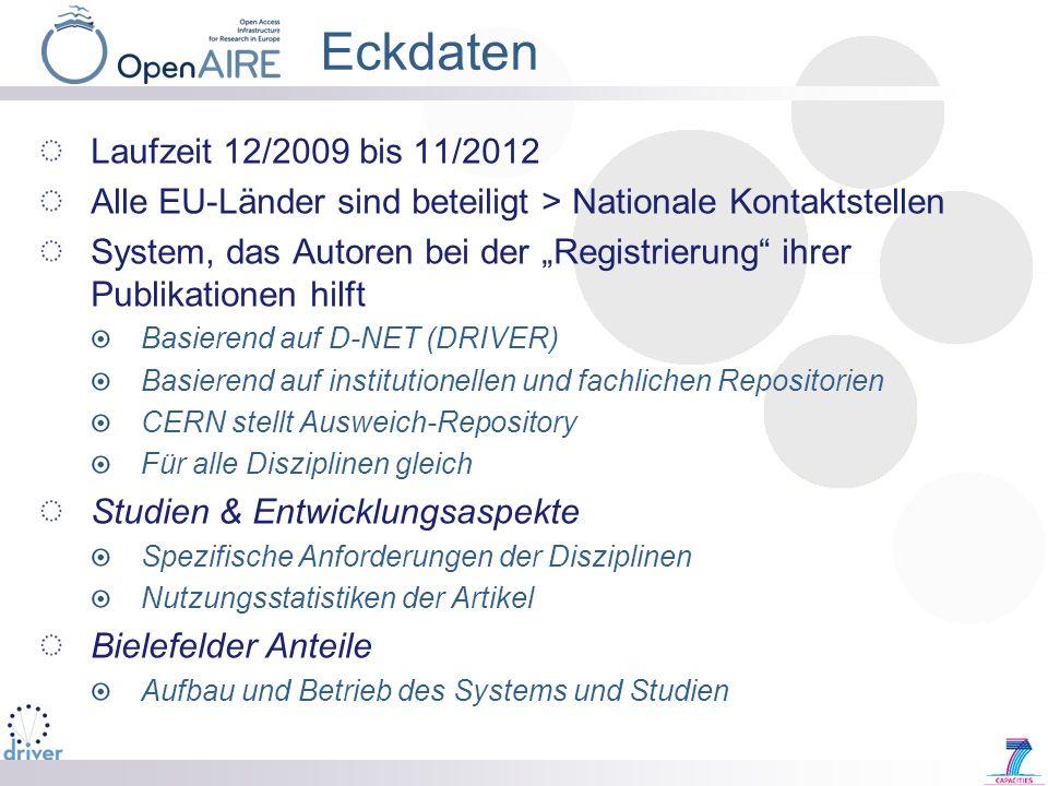 Eckdaten Laufzeit 12/2009 bis 11/2012