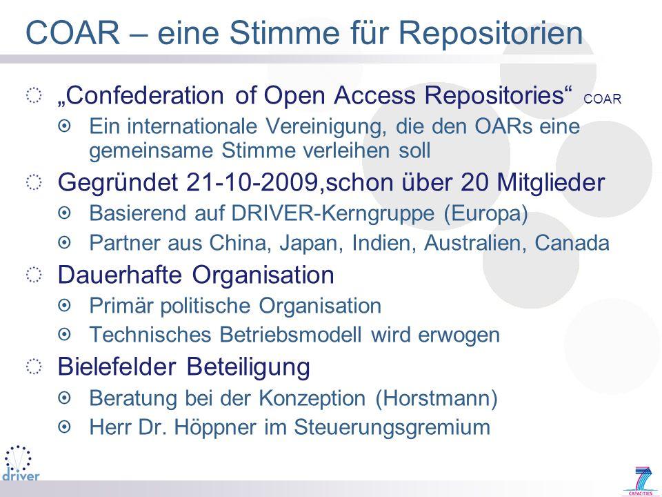 COAR – eine Stimme für Repositorien