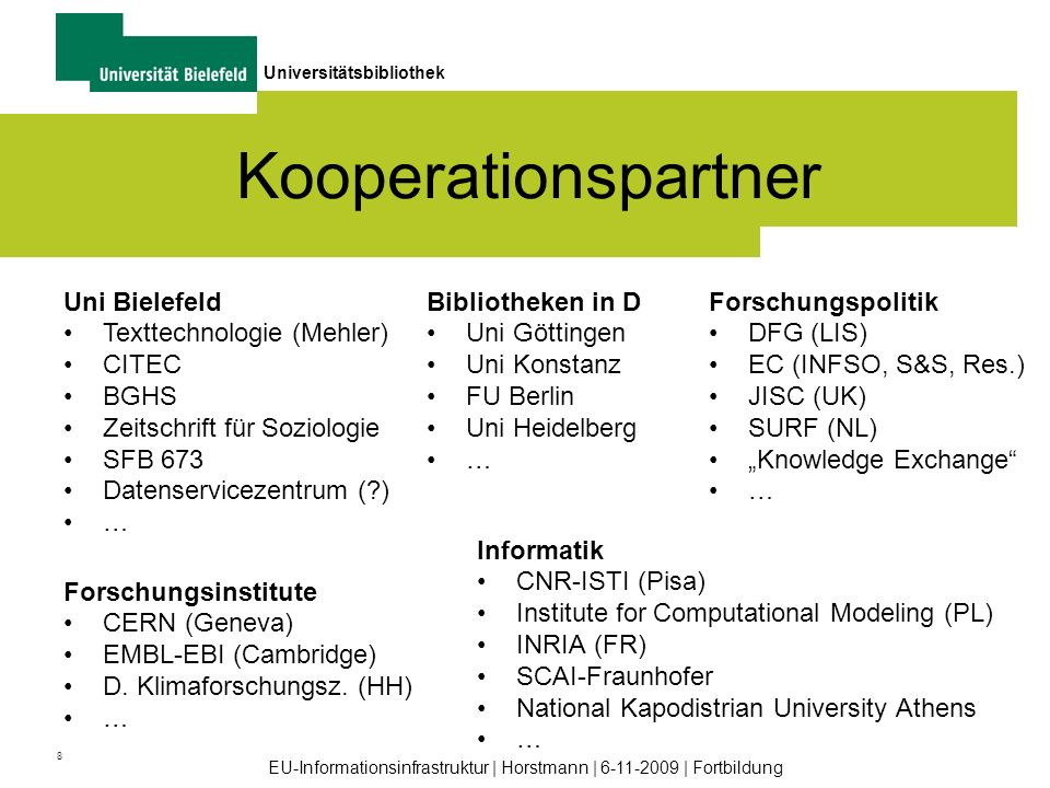 Kooperationspartner Uni Bielefeld Texttechnologie (Mehler) CITEC BGHS