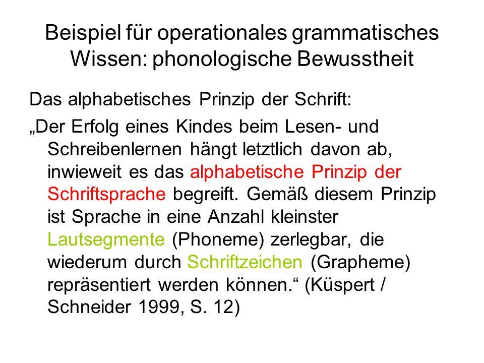 Beispiel für operationales grammatisches Wissen: phonologische Bewusstheit