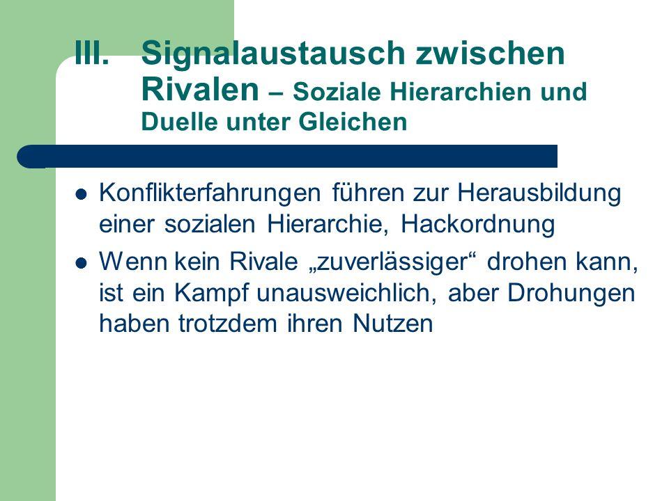 III. Signalaustausch zwischen. Rivalen – Soziale Hierarchien und