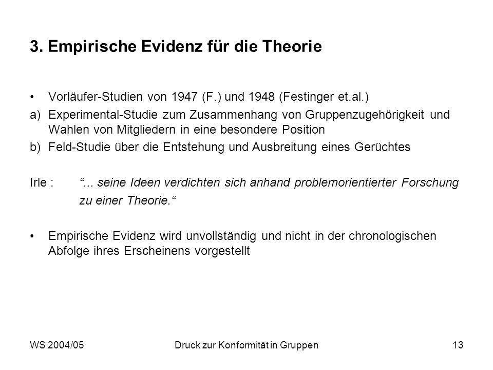 3. Empirische Evidenz für die Theorie