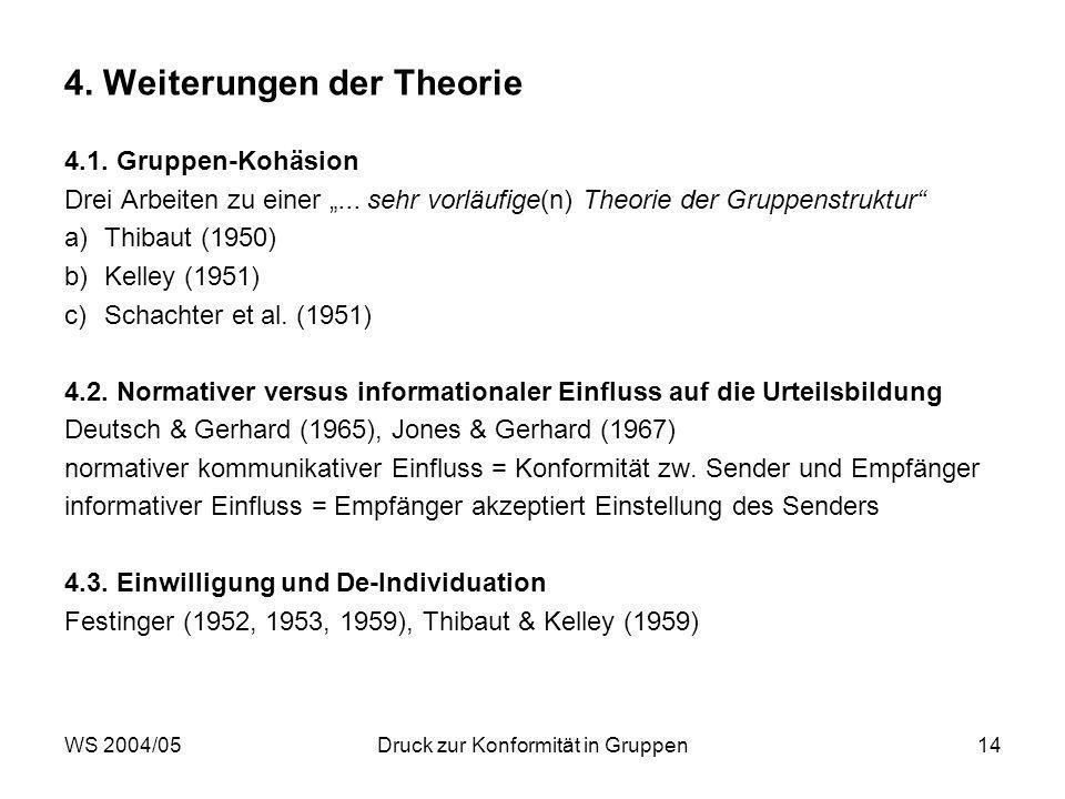 4. Weiterungen der Theorie