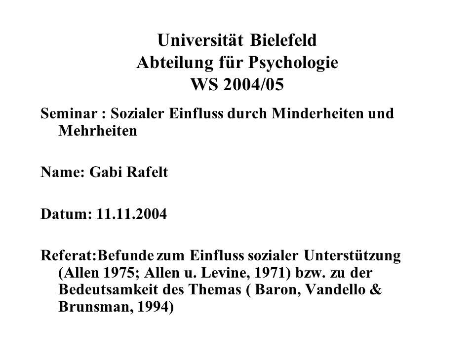 Universität Bielefeld Abteilung für Psychologie WS 2004/05