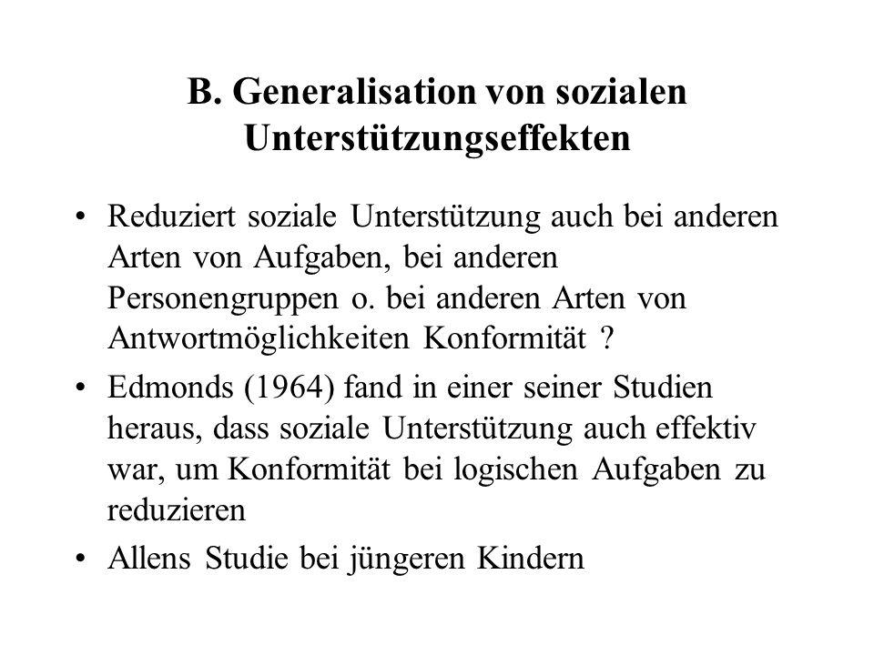 B. Generalisation von sozialen Unterstützungseffekten