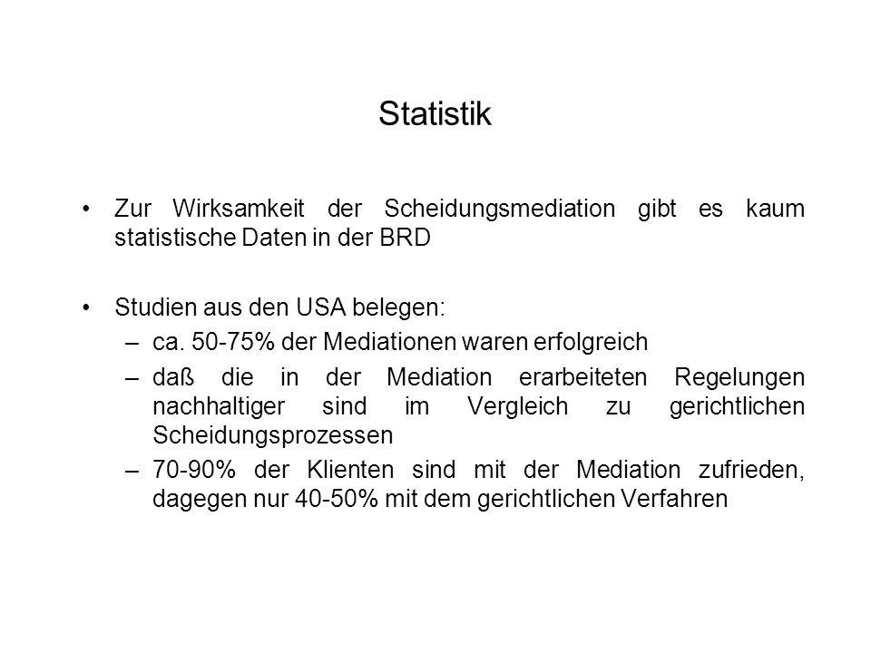StatistikZur Wirksamkeit der Scheidungsmediation gibt es kaum statistische Daten in der BRD. Studien aus den USA belegen: