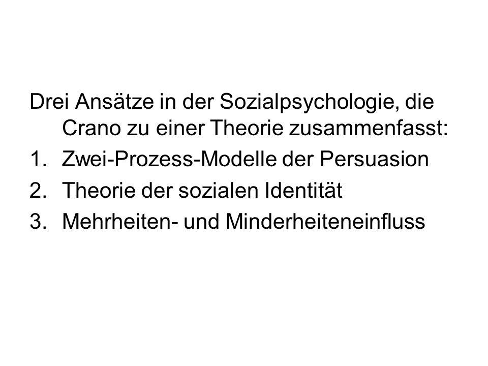Drei Ansätze in der Sozialpsychologie, die Crano zu einer Theorie zusammenfasst: