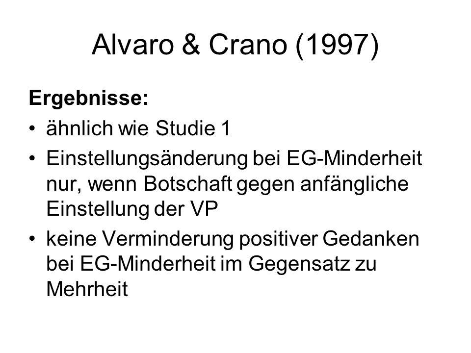 Alvaro & Crano (1997) Ergebnisse: ähnlich wie Studie 1