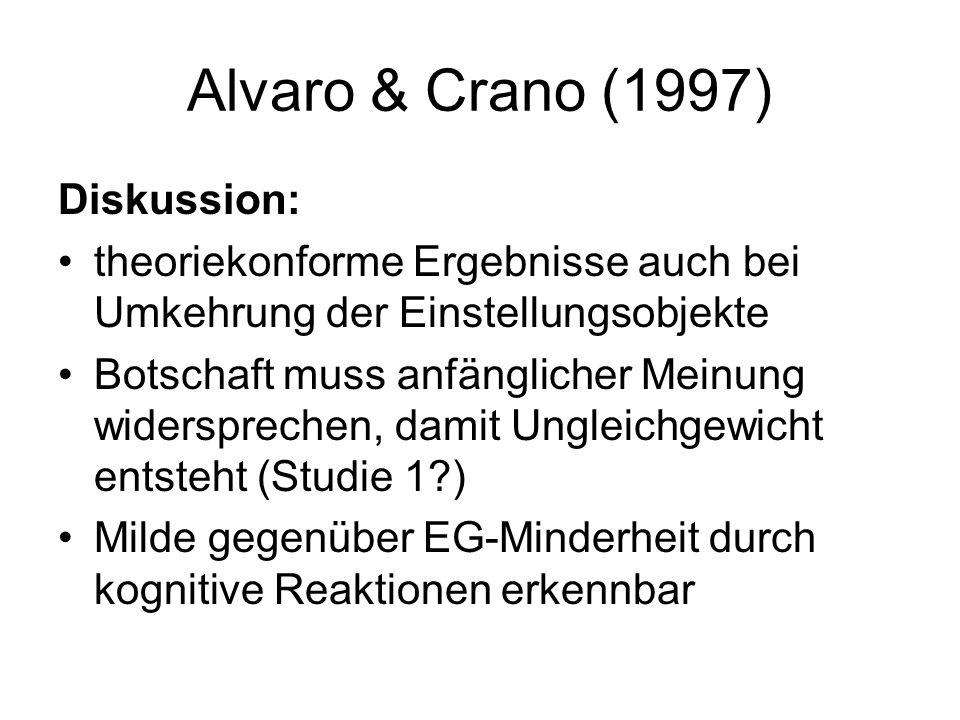 Alvaro & Crano (1997) Diskussion: