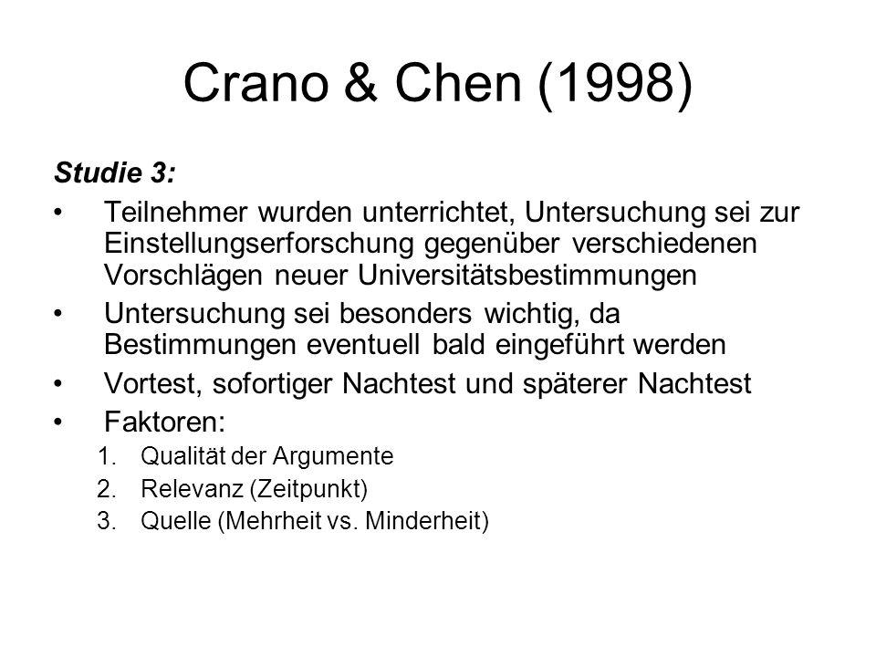 Crano & Chen (1998) Studie 3: