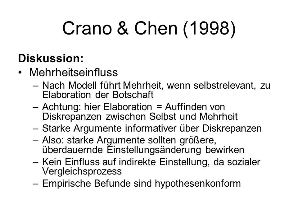 Crano & Chen (1998) Diskussion: Mehrheitseinfluss