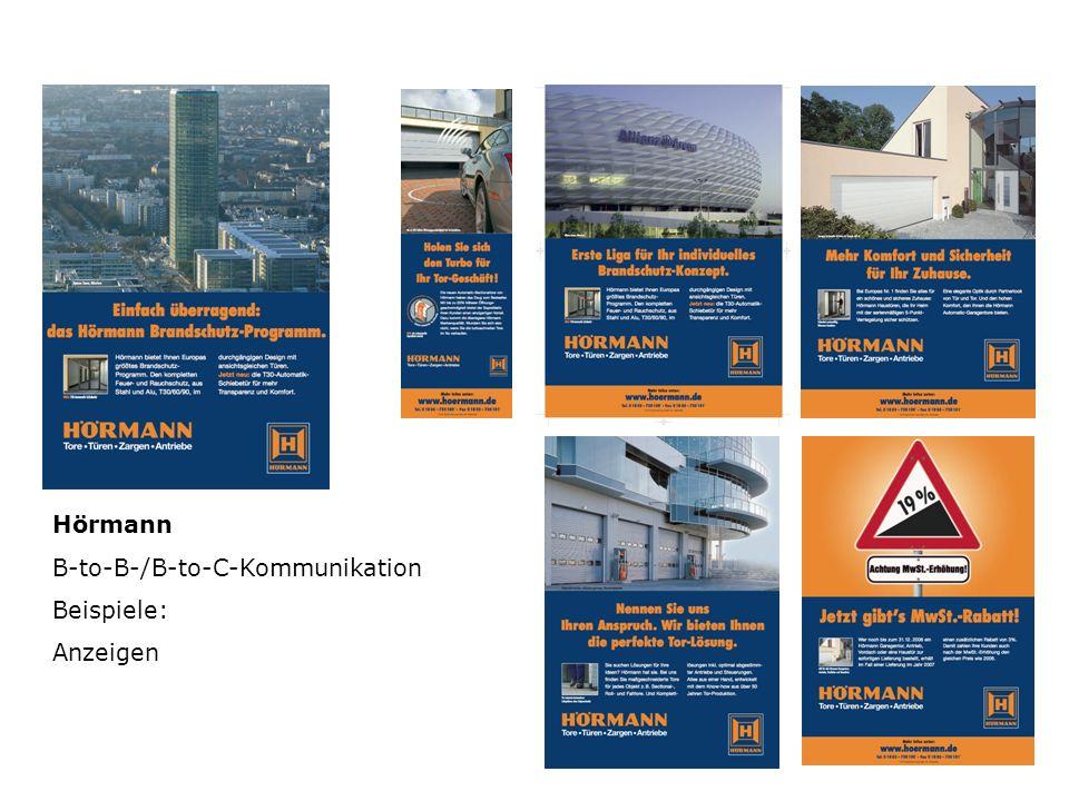 Hörmann B-to-B-/B-to-C-Kommunikation Beispiele: Anzeigen