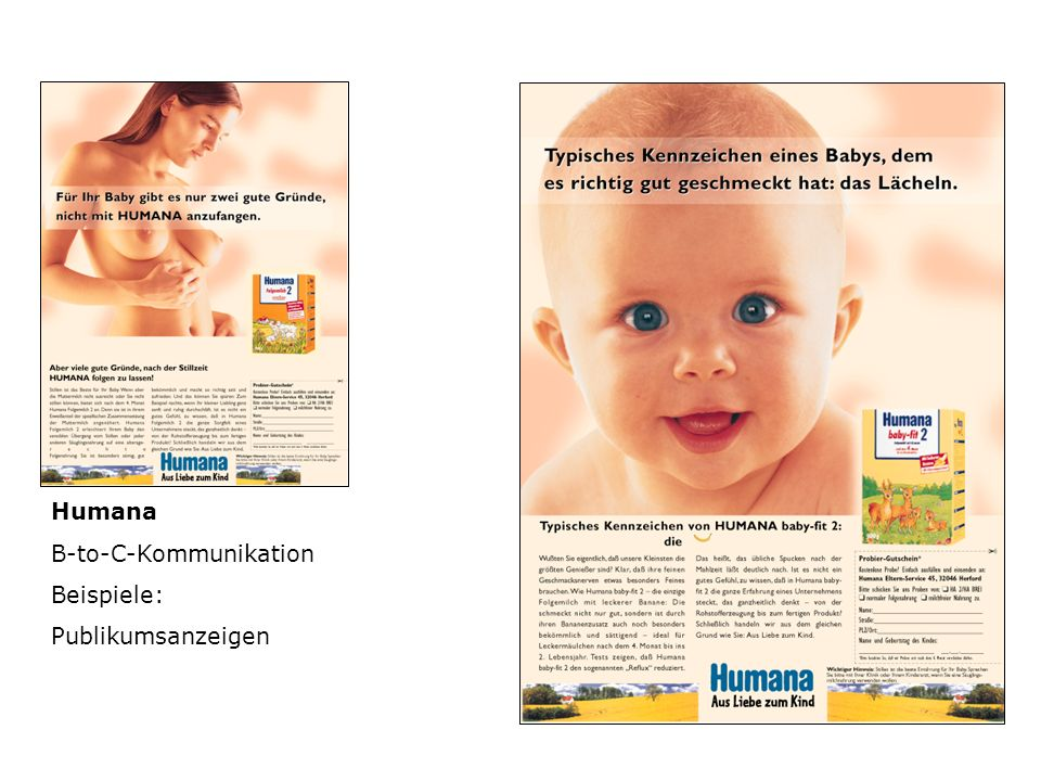 Humana B-to-C-Kommunikation Beispiele: Publikumsanzeigen