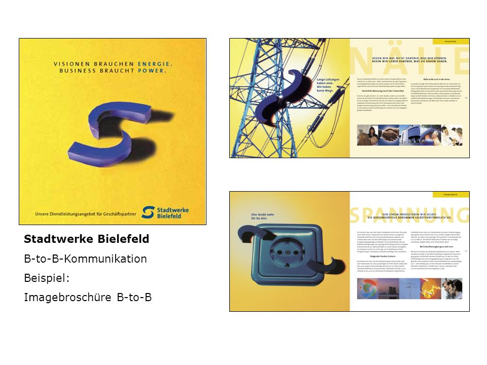 Stadtwerke Bielefeld B-to-B-Kommunikation Beispiel: Imagebroschüre B-to-B