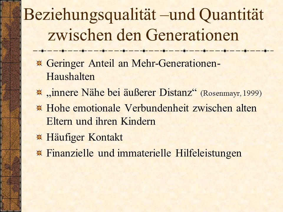 Beziehungsqualität –und Quantität zwischen den Generationen