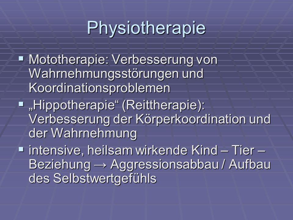 Physiotherapie Mototherapie: Verbesserung von Wahrnehmungsstörungen und Koordinationsproblemen.