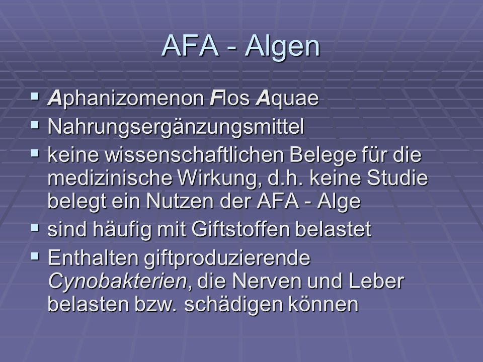AFA - Algen Aphanizomenon Flos Aquae Nahrungsergänzungsmittel